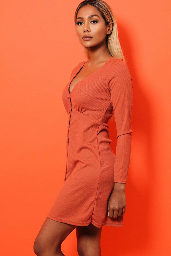 Burnt Orange Ribbed V-Neck Button Front Dress - SinglePrice