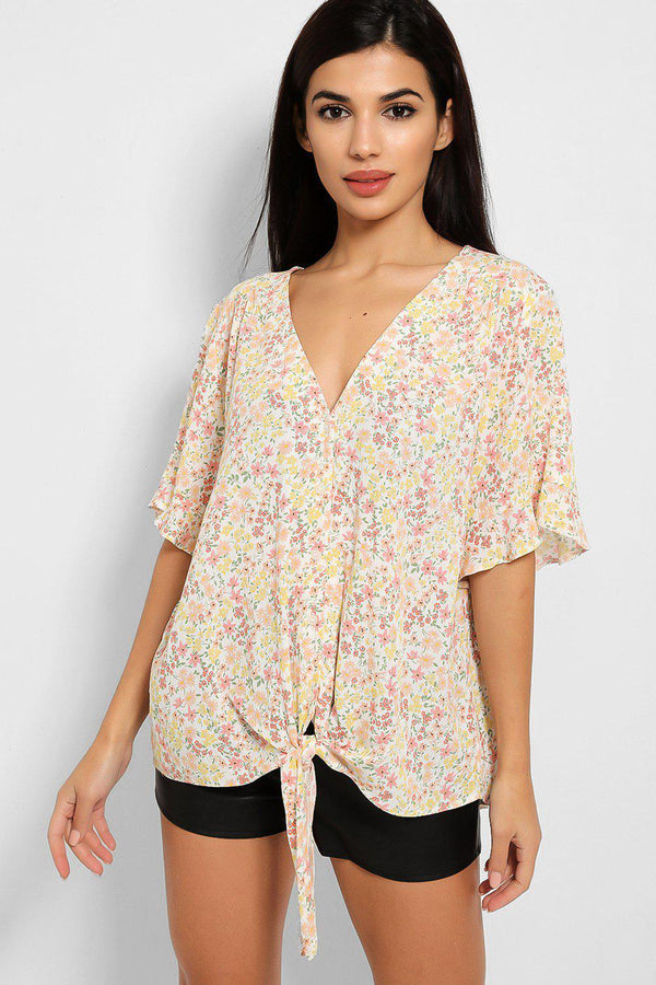 Peach Spring Floral Print V-Neck Front Knot Blouse - SinglePrice