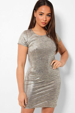 Gold Foil Shorts Sleeve Mini Dress - SinglePrice
