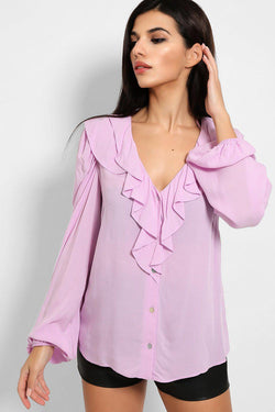 Lilac Frilled Neckline Balloon Sleeves Blouse - SinglePrice