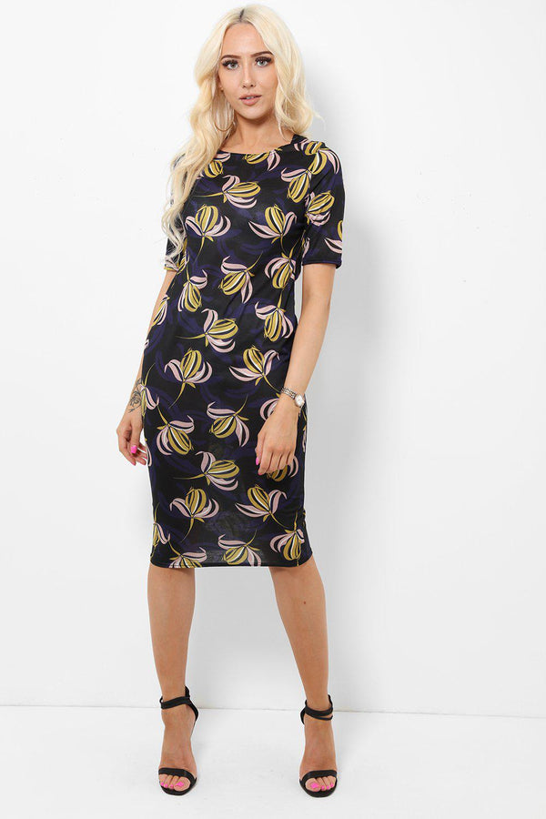 Pink And Yellow Floral Print Bodycon Midi Dress-SinglePrice