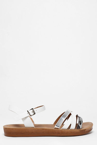 White Multiway Crossed Strap Sandals-SinglePrice