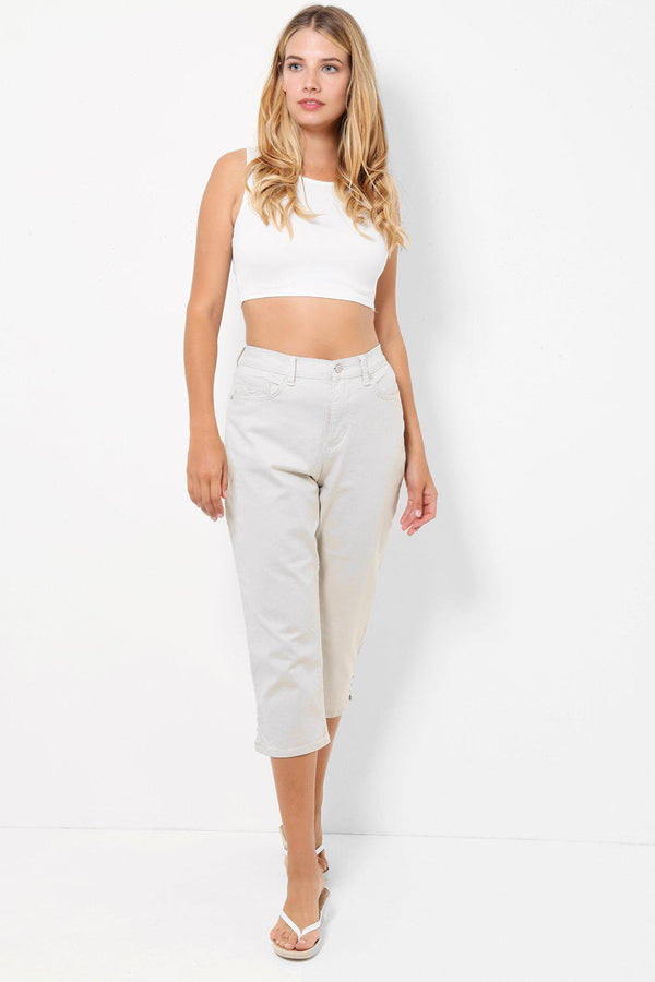 Beige Relaxed Fit Denim Capris - SinglePrice