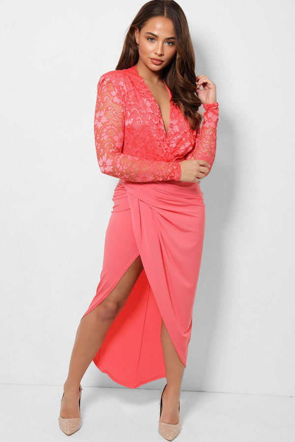 Coral Padded Shoulder Lace Sleeves Slinky Dress