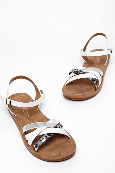 White Multiway Crossed Strap Sandals