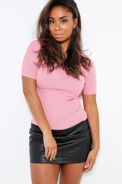 Short Sleeve Ribbed Jersey Pink T-Shirt-SinglePrice