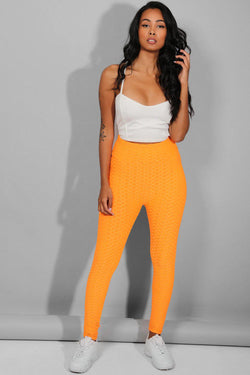 Neon Orange Ruched Texture Stretchy Leggings - SinglePrice