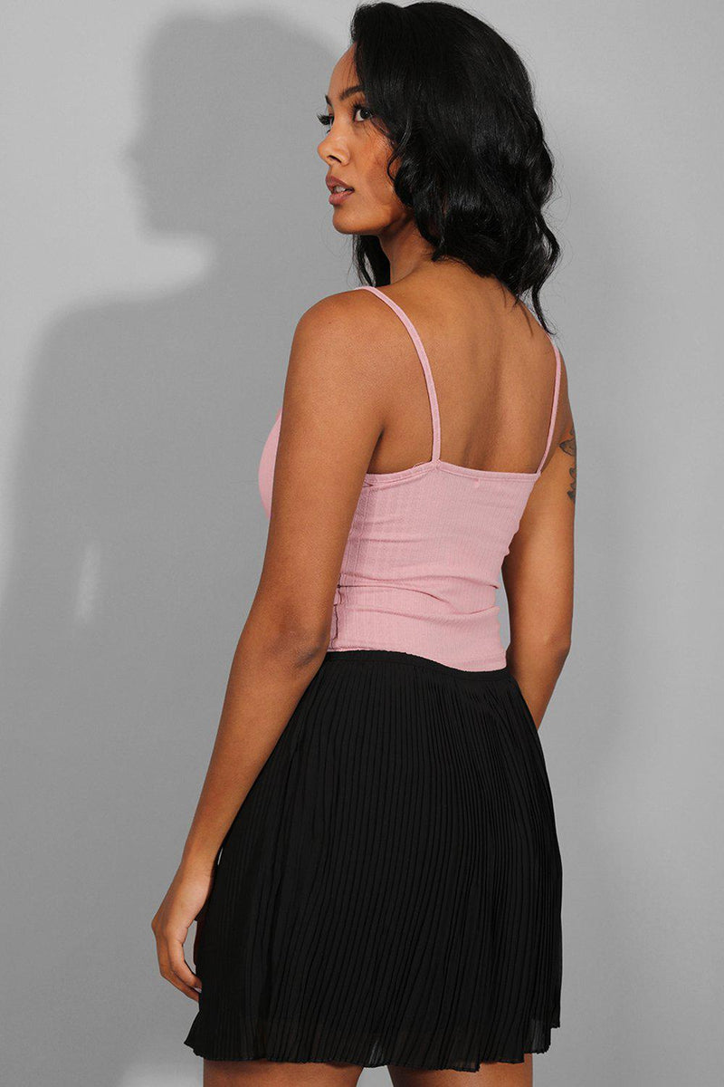 Dusty Pink Ribbed Cami Top - SinglePrice