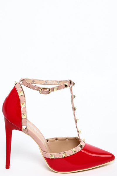 Studded T-Bar Red Patent Stiletto Heels-SinglePrice