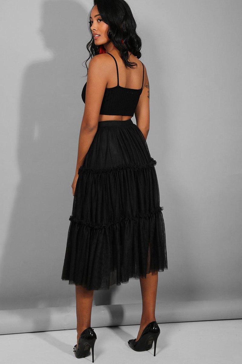 Black Tiered Tulle Midi Skirt - SinglePrice
