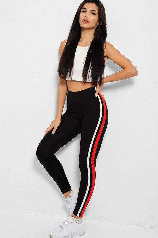 Black Racer Stripe Side Detail Skinny Leggings