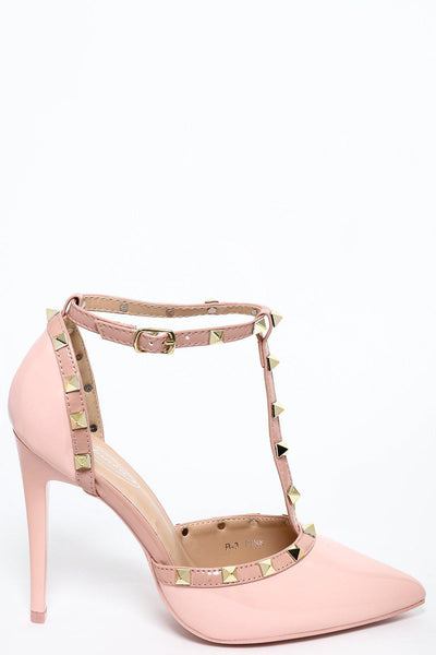 Studded T-Bar Pink Patent Stiletto Heels-SinglePrice