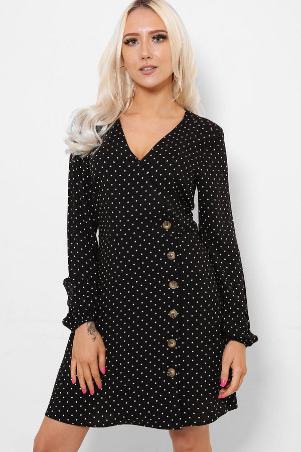 V-Neck And Wooden Buttons Polka Dot Print Dress-SinglePrice