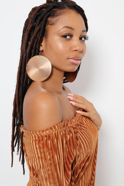 Textured Round Gold Earrings-SinglePrice