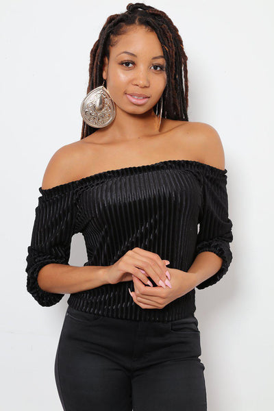 Ribbed Velvet Black Off Shoulder Top-SinglePrice