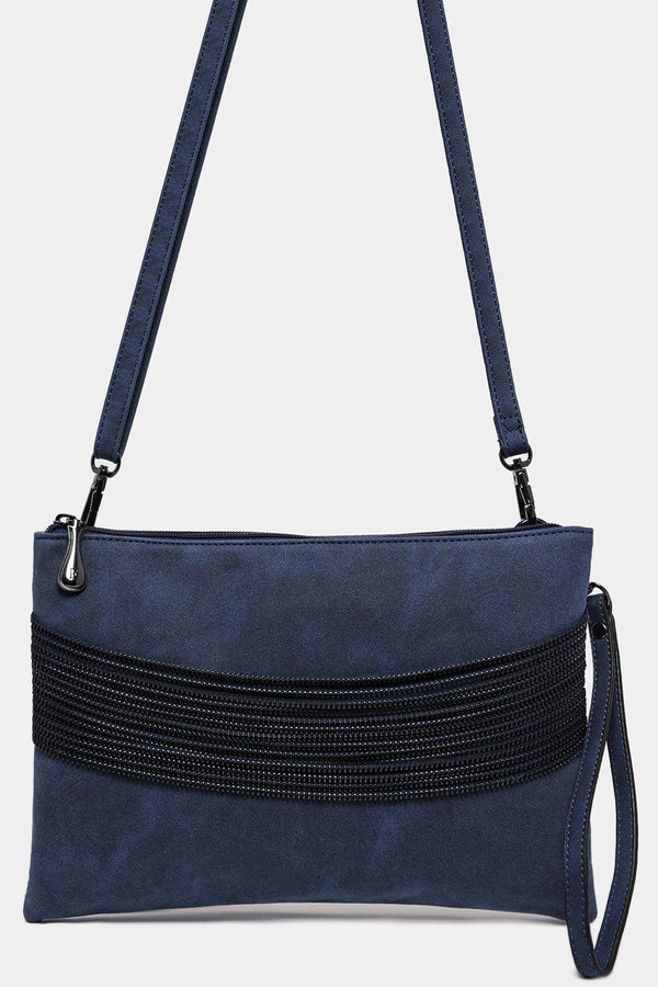 Blue Vegan Leather Multi-Chain Detail Bag-SinglePrice