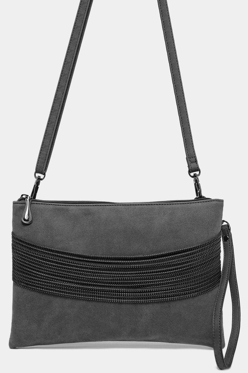 Grey Vegan Leather Multi-Chain Detail Bag - SinglePrice