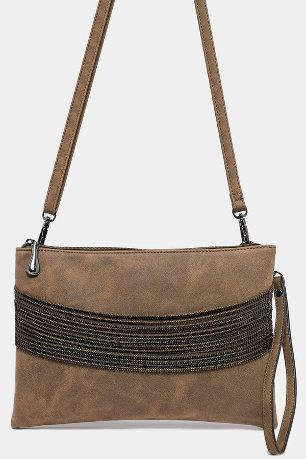Khaki Vegan Leather Multi-Chain Detail Bag - SinglePrice