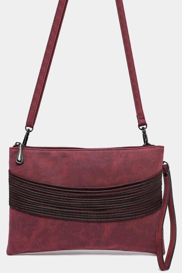Red Vegan Leather Multi-Chain Detail Bag - SinglePrice