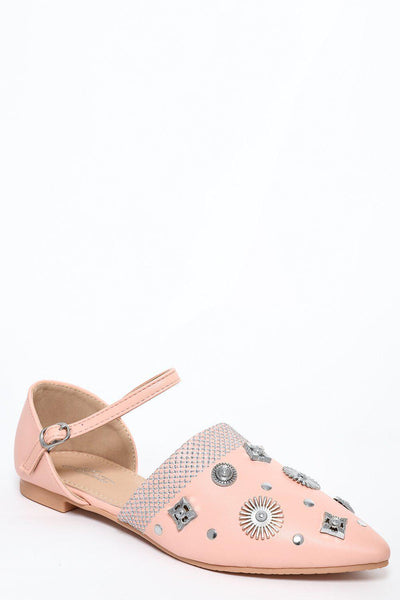 Pink Embellished Point Toe Flats-SinglePrice