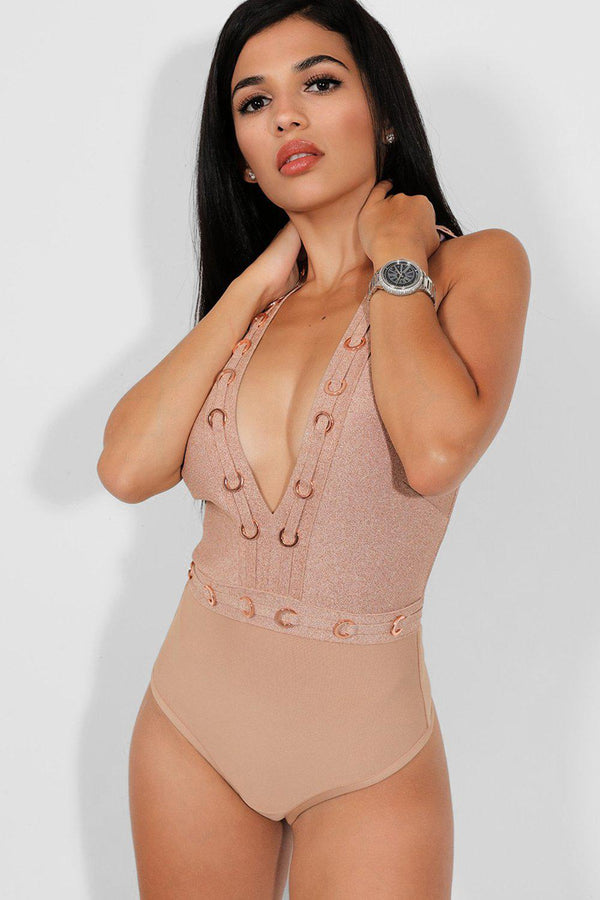 Lurex Rose Gold Chain Ring Details Bandage Bodysuit - SinglePrice