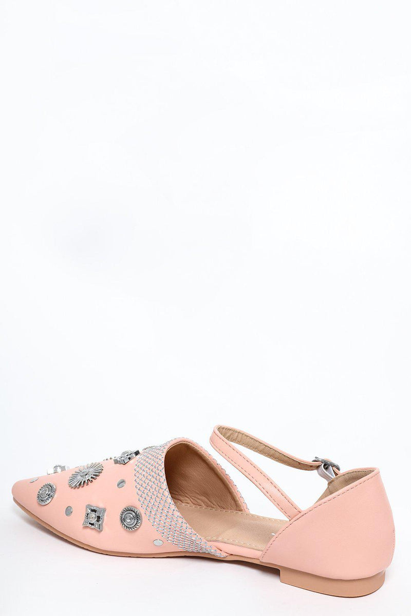 Pink Embellished Point Toe Flats - SinglePrice