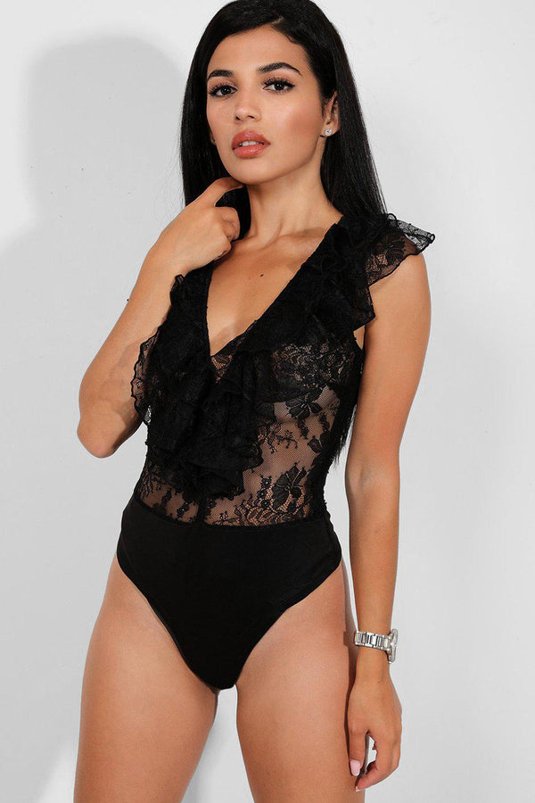 Black Lace Illusion Frilled Deep Plunge Bodysuit - SinglePrice