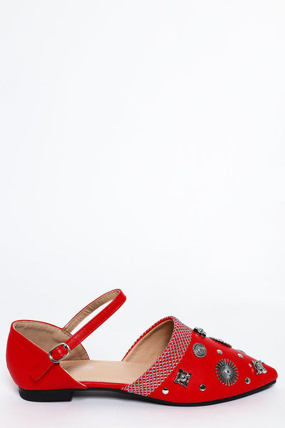 Red Embellished Point Toe Flats-SinglePrice