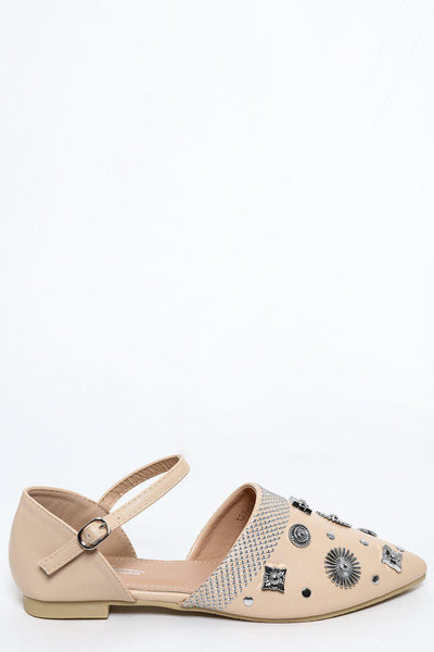 Apricot Embellished Point Toe Flats-SinglePrice