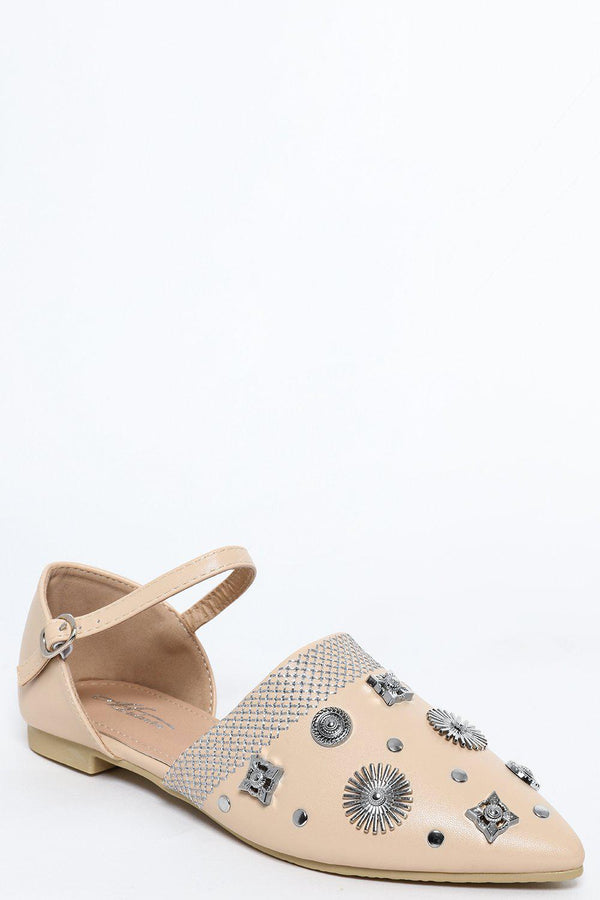 Apricot Embellished Point Toe Flats - SinglePrice