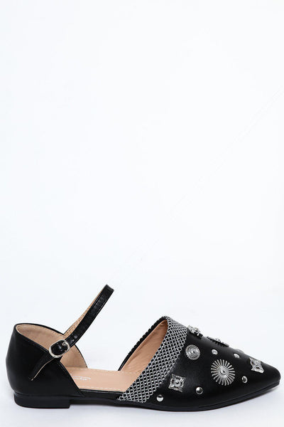 Black Embellished Point Toe Flats-SinglePrice