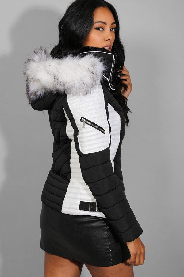 Black White Chevron Quilt Padded Racer Jacket - SinglePrice
