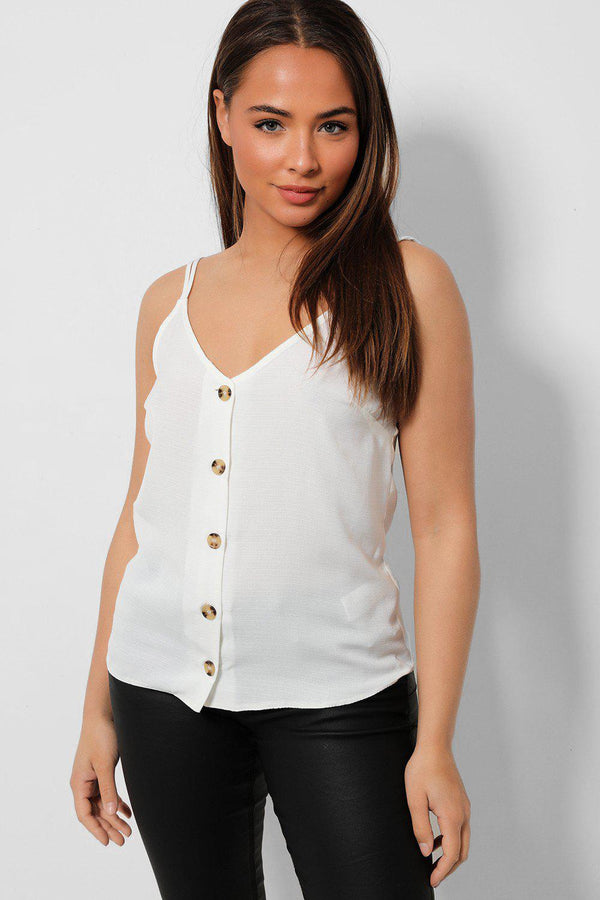 Buttons Front White Lightweight Cami Top - SinglePrice
