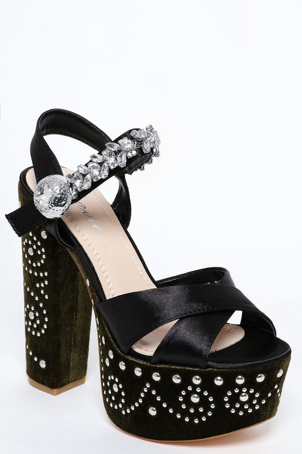 Encrusted Strap And Studded Velvet Green Platform Heels-SinglePrice
