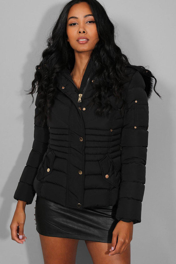 Black Quilted Detachable Faux Fur Hood And Sleeve Pocket Jacket - SinglePrice