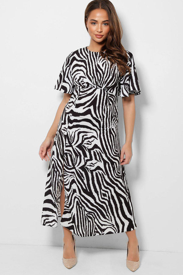 Black Zebra Print Thigh Split Midaxi Tea Dress-SinglePrice