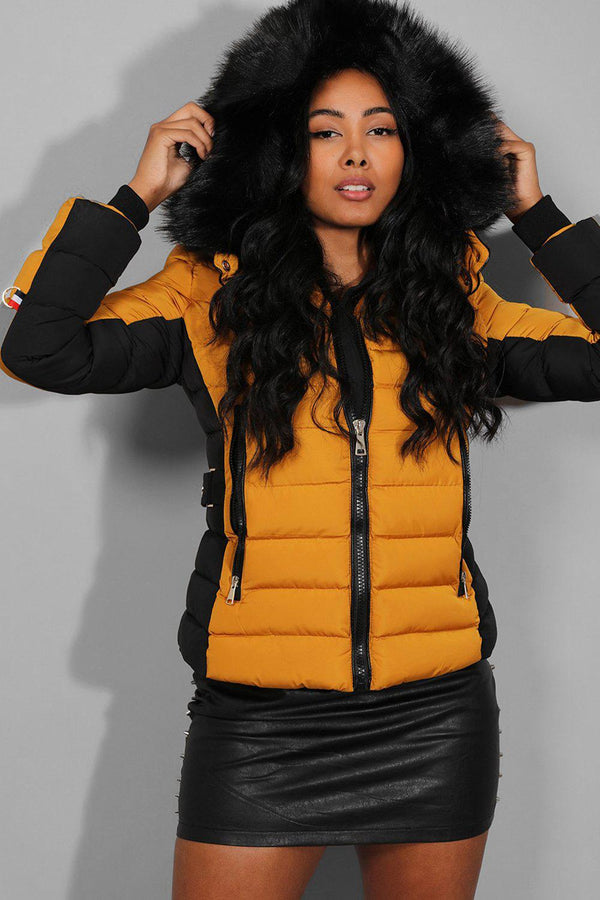 Yellow Belt Detail Quilted Padded Detachable Hood Jacket - SinglePrice