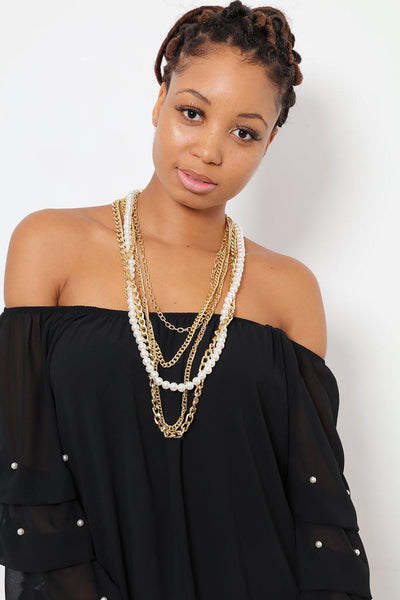 Pearls & Chains Layered Necklace-SinglePrice