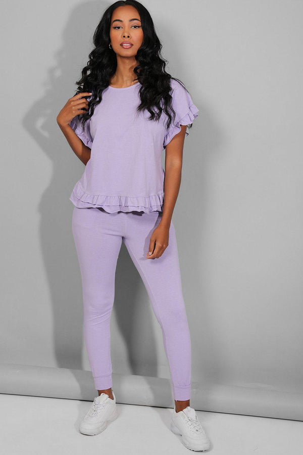 Light Purple Green Frilled Top Lounge Set - SinglePrice