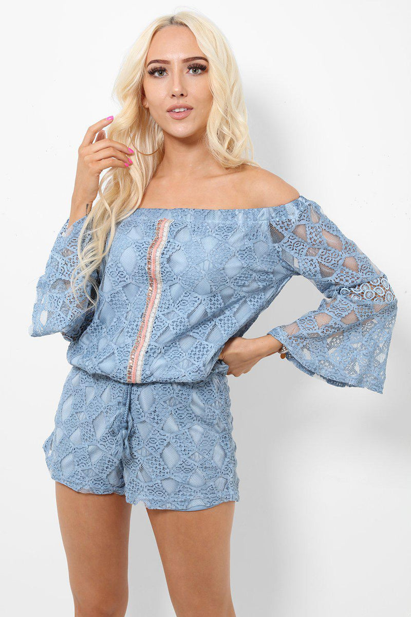 Blue Lace Drawstring Top 2 Piece Set - SinglePrice
