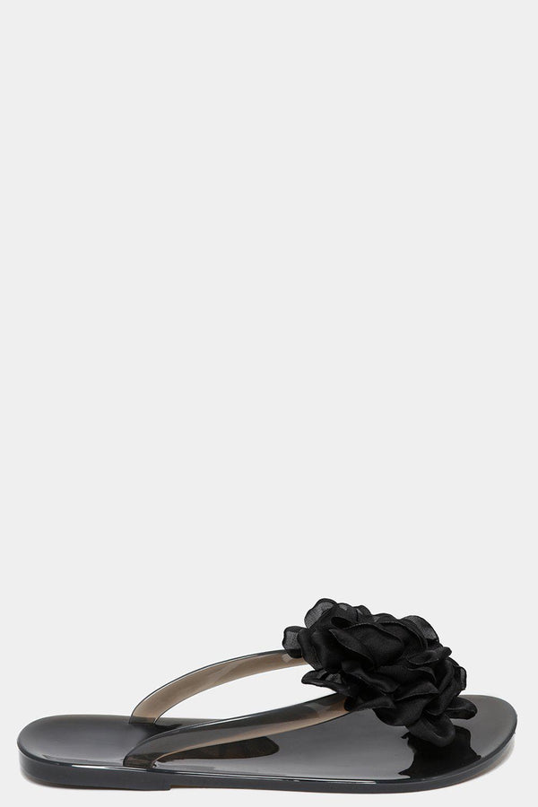 Black Large Flower Embellished Thong Sandals-SinglePrice