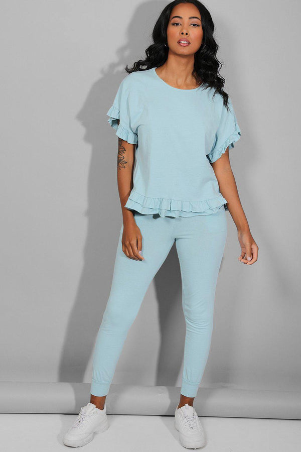 Blue Green Frilled Top Lounge Set - SinglePrice