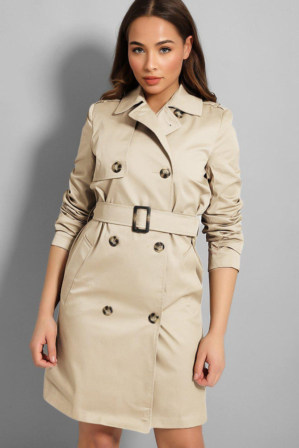 Beige Double Breasted Belted Midi Trench Coat - SinglePrice