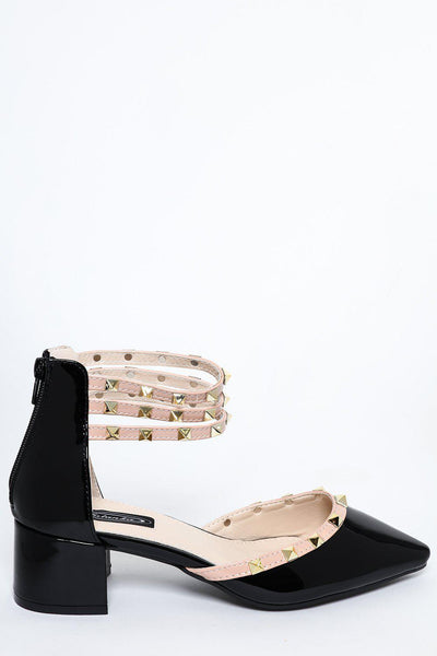 Black Studded Ankle Multi-Strap Low Heel Pumps-SinglePrice