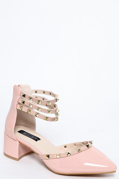 Pink Studded Ankle Multi-Strap Low Heel Pumps-SinglePrice