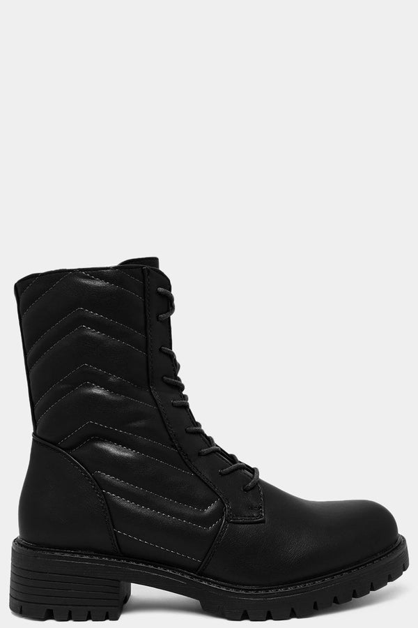 Black Chevron Quilt Lace Up Ankle Boots - SinglePrice