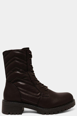 Brown Chevron Quilt Lace Up Ankle Boots - SinglePrice