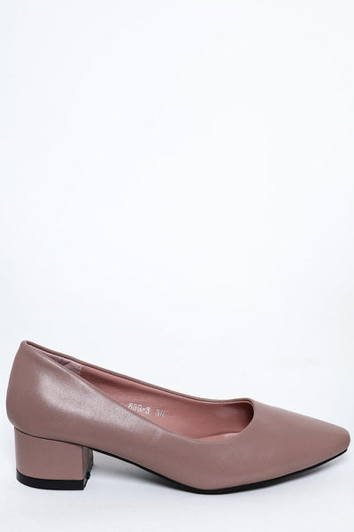 Dark Pink Vegan Leather Low Heel Pumps-SinglePrice