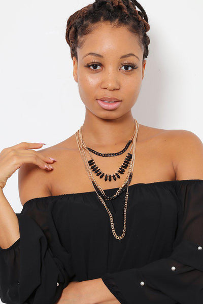 Black & Yellow Layered Necklace-SinglePrice