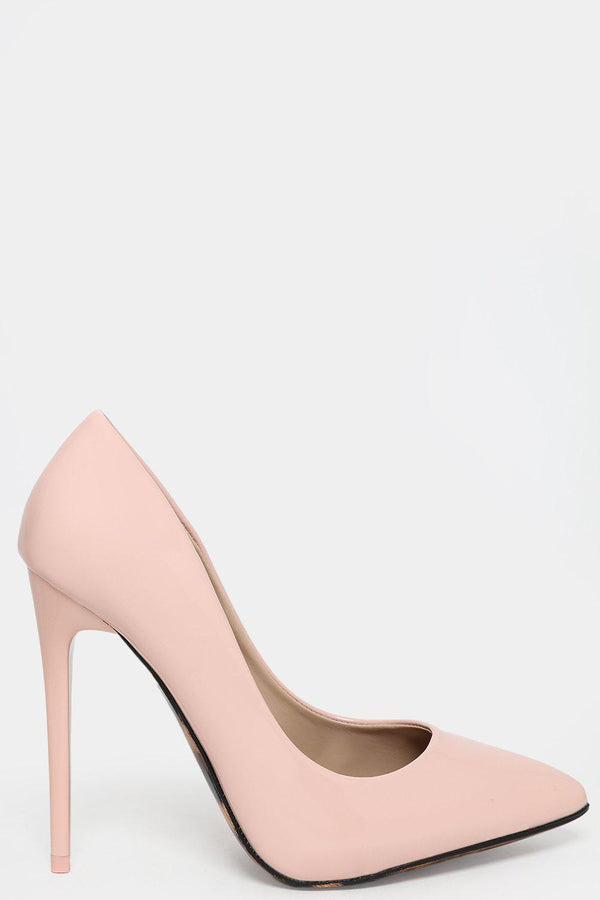 Patent Pink Stiletto Heels With Leopard Sole-SinglePrice